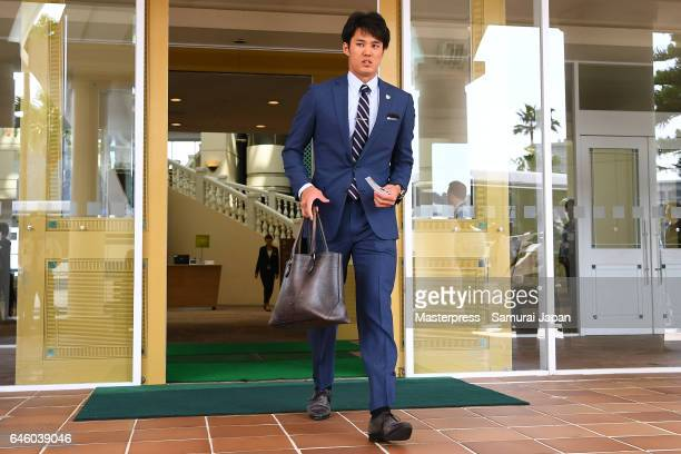 Pitcher Shintaro Fujinami of Japan leaves the hotel afgter the SAMURAI JAPAN's training camp at the Sun Marine Stadium Miyazaki on February 27 2017...
