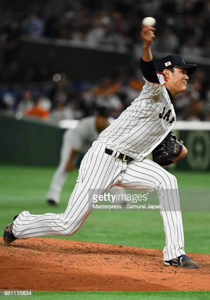 Pitcher Shintaro Fujinami of Japan throws in the top of the fourth inning during the World Baseball Classic Pool B Game Six between China and Japan...