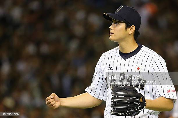 Pitcher Shohei Otani of Japan reacts after the top of fourth inning during the WBSC Premier 12 semi final match between South Korea and Japan at the...