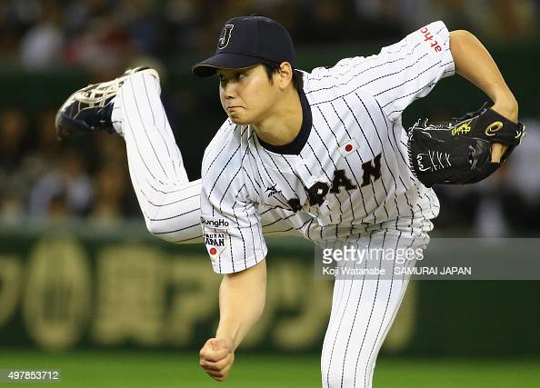 Pitcher Shohei Otani of Japan throws in the top of fourth inning during the WBSC Premier 12 semi final match between South Korea and Japan at the...