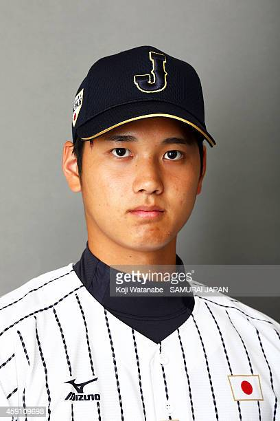 Pitcher Shohei Otani of Samurai Japan poses for photographs during the Samurai Japan Portrait Session on November 8 2014 in Fukuoka Japan