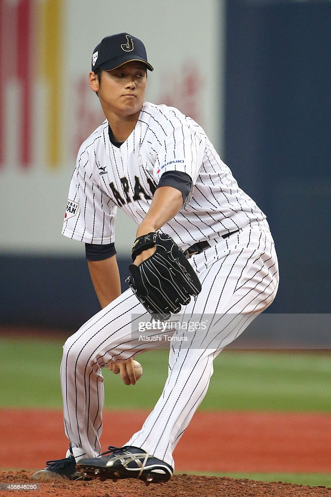 Pitcher Shohei Otani of Samurai Japan throws against MLB All Stars in the eighth inning during the Game one of Samurai Japan and MLB All Stars at...