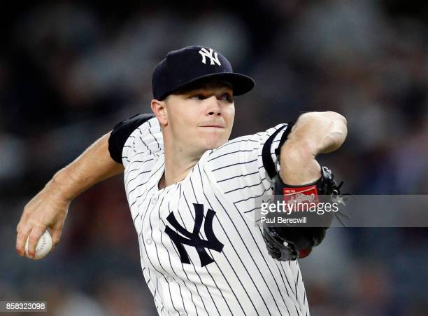 Pitcher Sonny Gray of the New York Yankees pitches in an MLB baseball game against the Tampa Bay Rays on September 28 2017 at Yankee Stadium in the...