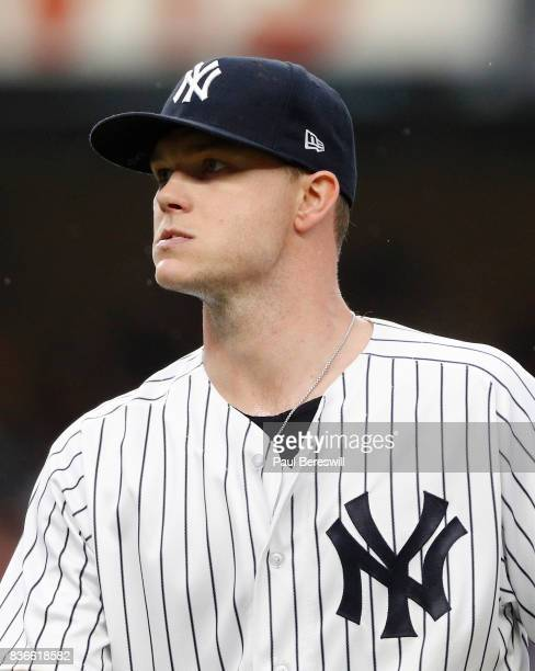 Pitcher Sonny Gray of the New York Yankees reacts in an interleague MLB baseball game against the New York Mets on August 15 2017 at Yankee Stadium...