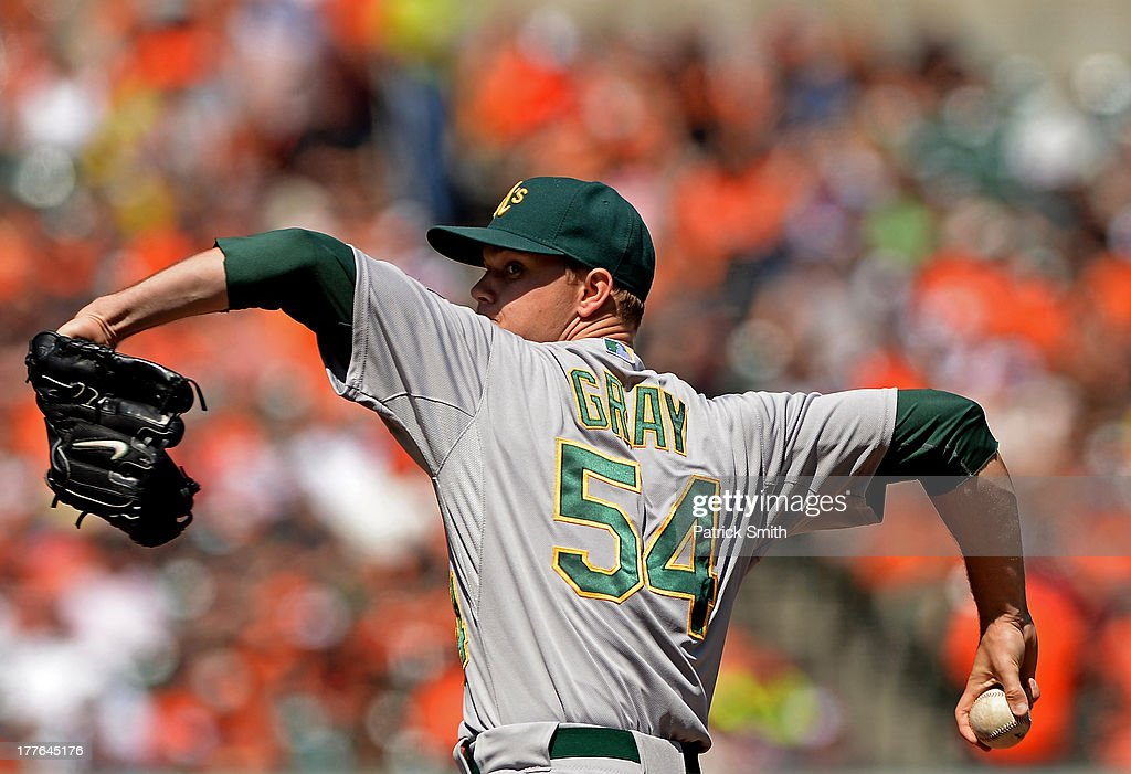 Pitcher <a gi-track='captionPersonalityLinkClicked' href=/galleries/search?phrase=Sonny+Gray&family=editorial&specificpeople=8046451 ng-click='$event.stopPropagation()'>Sonny Gray</a> #54 of the Oakland Athletics pitches in the first inning against the Baltimore Orioles at Oriole Park at Camden Yards on August 25, 2013 in Baltimore, Maryland.
