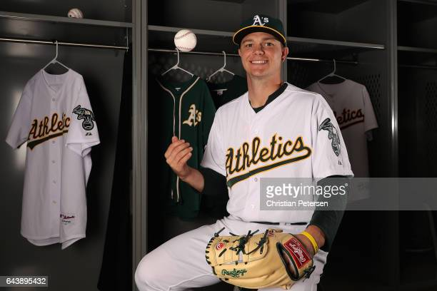 Pitcher Sonny Gray of the Oakland Athletics poses for a portrait during photo day at HoHoKam Stadium on February 22 2017 in Mesa Arizona