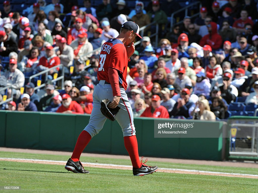 Pitcher <a gi-track='captionPersonalityLinkClicked' href=/galleries/search?phrase=Stephen+Strasburg&family=editorial&specificpeople=6164496 ng-click='$event.stopPropagation()'>Stephen Strasburg</a> #37 of the Washington Nationals leaves the mound after starting against the Philadelphia Phillies March 6, 2013 at Bright House Field in Clearwater, Florida.