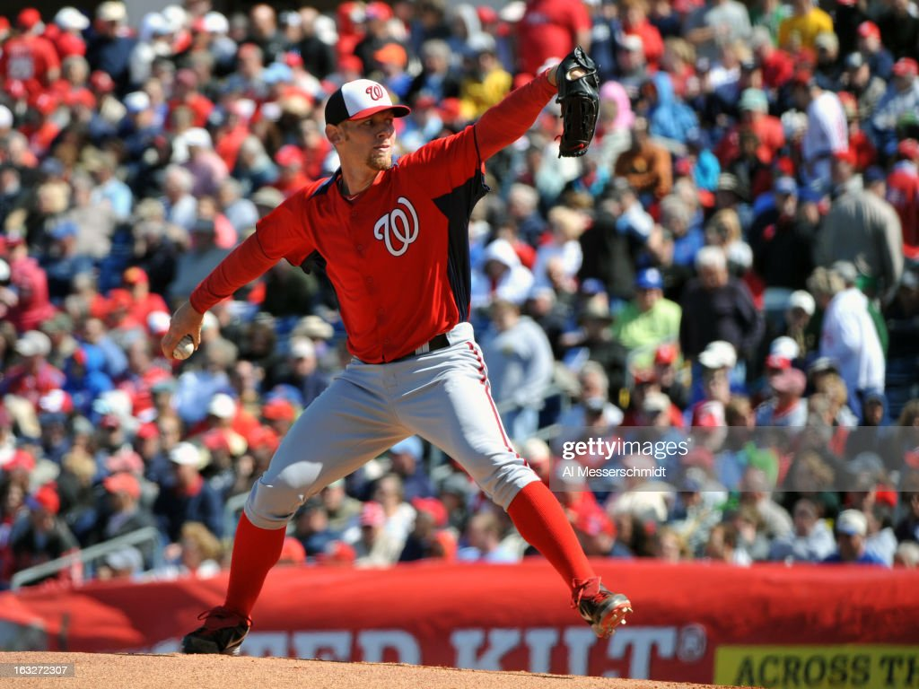 Pitcher <a gi-track='captionPersonalityLinkClicked' href=/galleries/search?phrase=Stephen+Strasburg&family=editorial&specificpeople=6164496 ng-click='$event.stopPropagation()'>Stephen Strasburg</a> #37 of the Washington Nationals pitches against the Philadelphia Phillies March 6, 2013 at Bright House Field in Clearwater, Florida.