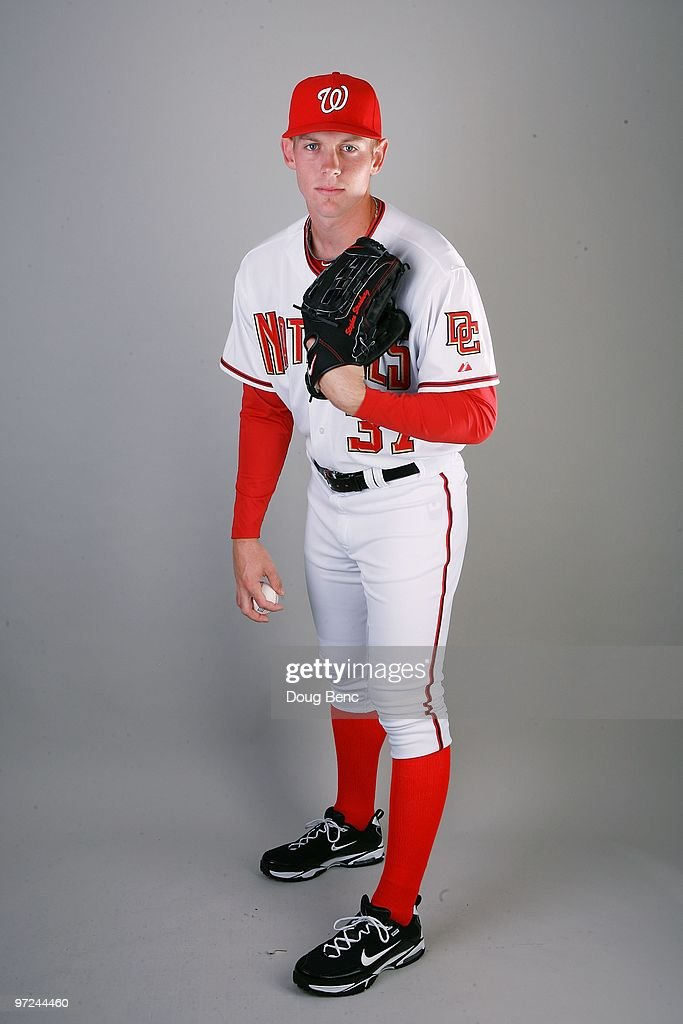 Pitcher <a gi-track='captionPersonalityLinkClicked' href=/galleries/search?phrase=Stephen+Strasburg&family=editorial&specificpeople=6164496 ng-click='$event.stopPropagation()'>Stephen Strasburg</a> #37 of the Washington Nationals poses during photo day at Space Coast Stadium on February 28, 2010 in Viera, Florida.
