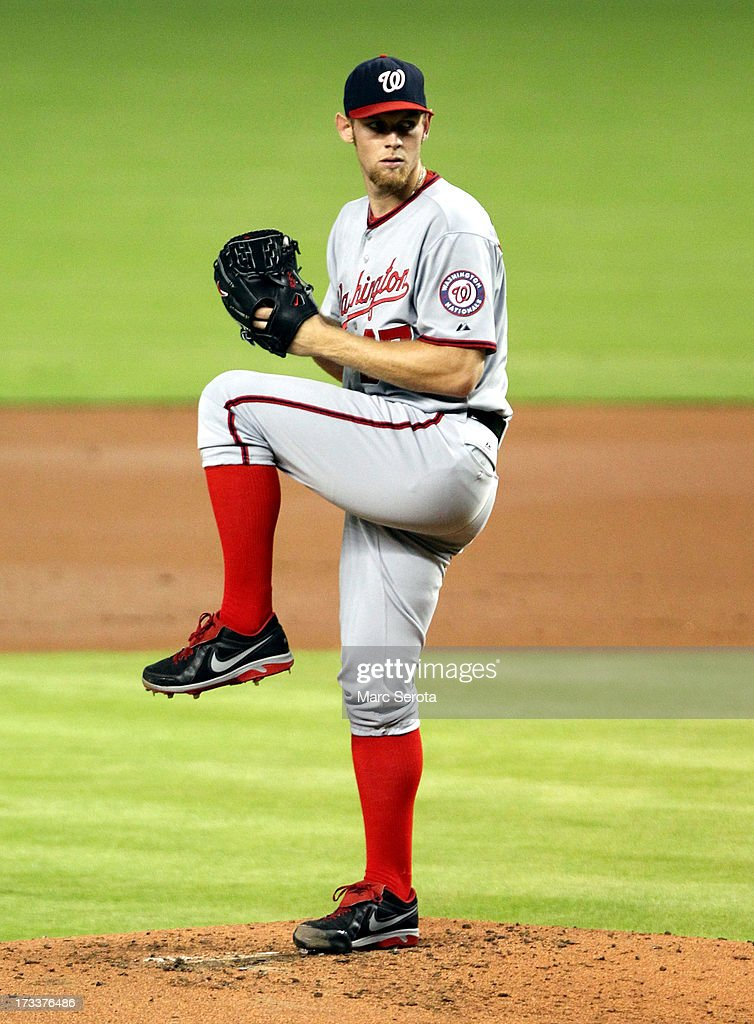 Pitcher <a gi-track='captionPersonalityLinkClicked' href=/galleries/search?phrase=Stephen+Strasburg&family=editorial&specificpeople=6164496 ng-click='$event.stopPropagation()'>Stephen Strasburg</a> #37 of the Washington Nationals throws against the Miami Marlins at Marlins Park on July 12, 2013 in Miami, Florida.The Marlins defeated the Nationals 8-3,