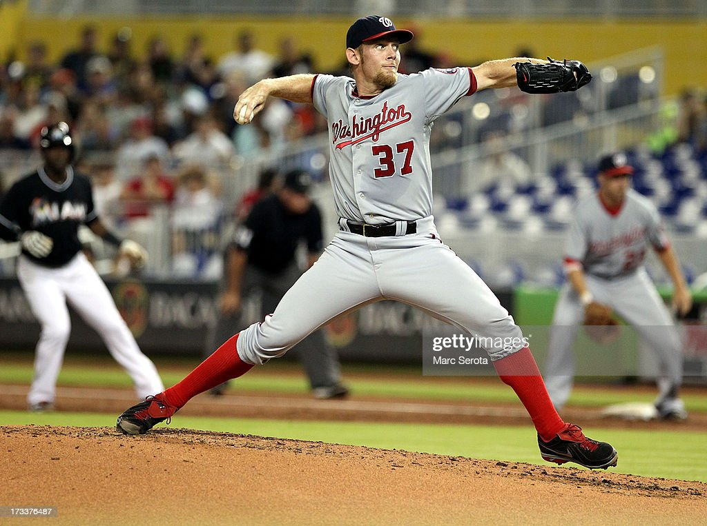Pitcher Stephen Strasburg #37 of the Washington Nationals throws against the Miami Marlins at Marlins Park on July 12, 2013 in Miami, Florida.The Marlins defeated the Nationals 8-3,