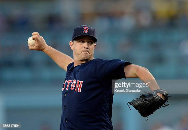Pitcher Steven Wright of the Boston Red Sox throws against the Los Angeles Dodgers during the first inning of the baseball game at Dodger Stadium...