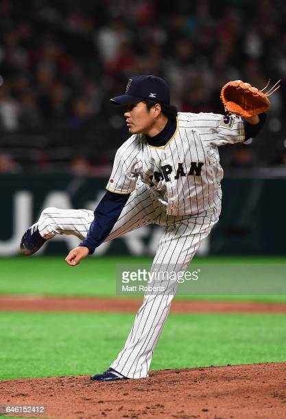 Pitcher Takahiro Norimoto of Japan throws in the top of the third inning during SAMURAI JAPAN Sendoff Friendly Match between Japan and CPBL Selected...