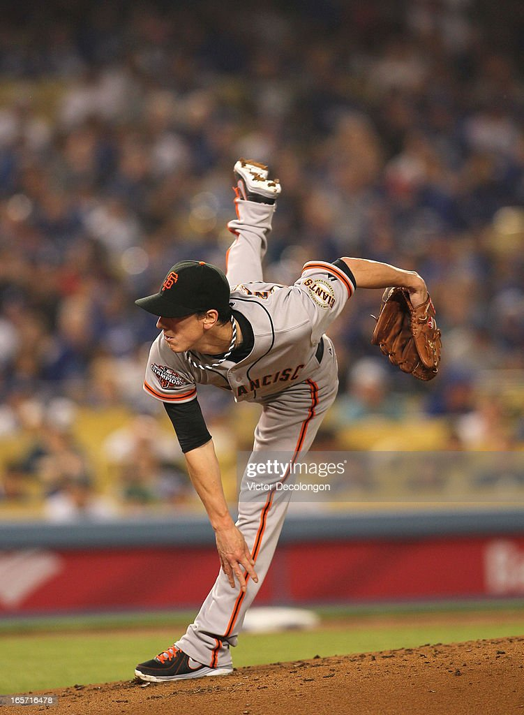 Pitcher Tim Lincecum #55 of the San Francisco Giants follows through on his pitch delivery in the second inning during the MLB game against the Los Angeles Dodgers at Dodger Stadium on April 3, 2013 in Los Angeles, California. The Giants defeated the Dodgers 5-3.