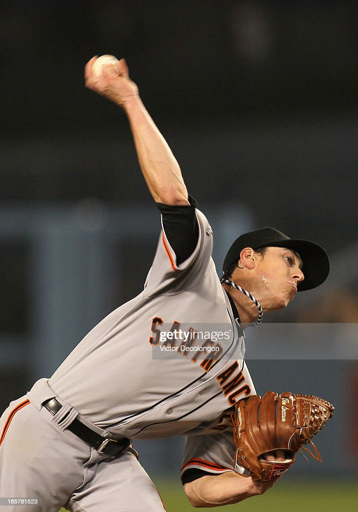 Pitcher <a gi-track='captionPersonalityLinkClicked' href=/galleries/search?phrase=Tim+Lincecum&family=editorial&specificpeople=4175405 ng-click='$event.stopPropagation()'>Tim Lincecum</a> #55 of the San Francisco Giants pitches in the fifth inning against the Los Angeles Dodgers during the MLB game at Dodger Stadium on April 3, 2013 in Los Angeles, California. The Giants defeated the Dodgers 5-3.