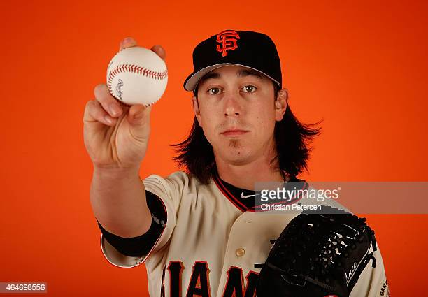 Pitcher Tim Lincecum of the San Francisco Giants poses for a portrait during spring training photo day at Scottsdale Stadium on February 27 2015 in...