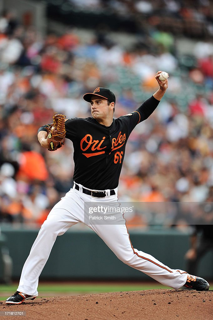 Pitcher T.J. McFarland #66 of the Baltimore Orioles works the first inning against the New York Yankees at Oriole Park at Camden Yards on June 28, 2013 in Baltimore, Maryland.