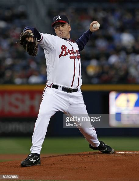 Pitcher Tom Glavine of the Atlanta Braves throws a pitch in his first game back with the Braves during the game against the Pittsburgh Pirates on...