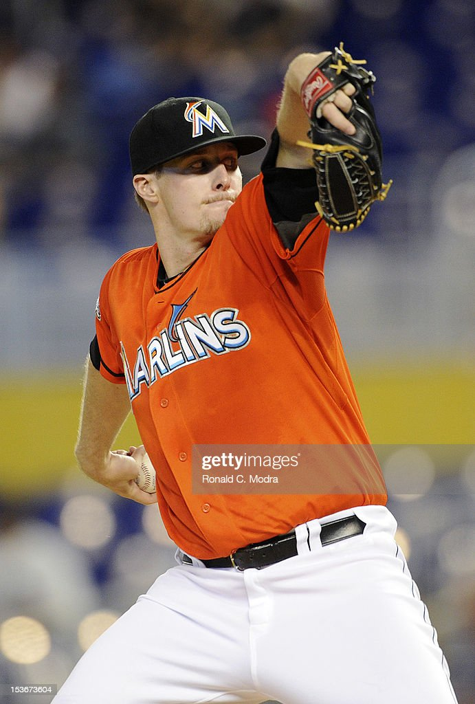 Pitcher Tom Koehler #34 of the Miami Marlins pitches during a MLB game against the New York Mets at Marlins Park on October 3, 2012 in Miami, Florida.
