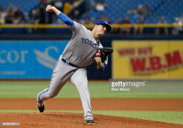 Pitcher Tom Koehler of the Toronto Blue Jays pitches during the first inning of a game against the Tampa Bay Rays on August 24 2017 at Tropicana...