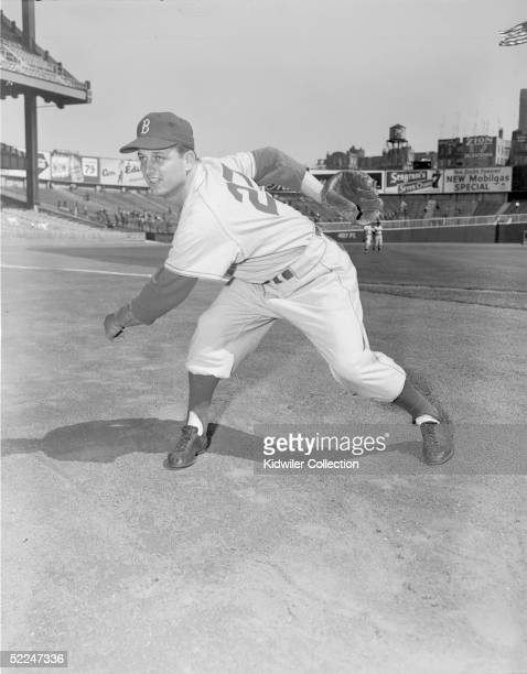 Pitcher Tom Lasorda of the Brooklyn Dodgers poses for the camera prior to a World Series game at Yankee Stadium in New York in 1955