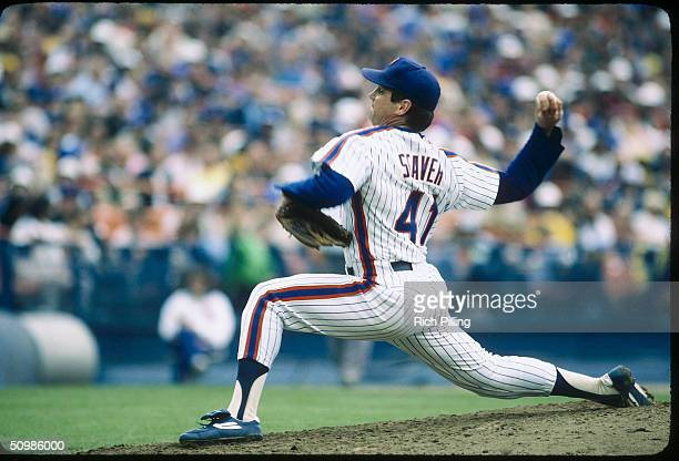 Pitcher Tom Seaver of the New York Mets pitches at Shea Stadium in Queens New York in 1983