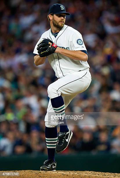 Pitcher Tom Wilhelmsen of the Seattle Mariners throws a pitch during MLB baseball action against the Cleveland Indians at Safeco Field on May 30 2015...