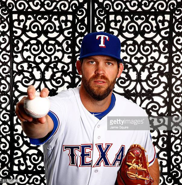 Pitcher Tom Wilhelmsen poses during a spring training photo shoot on February 28 2016 in Surprise Arizona