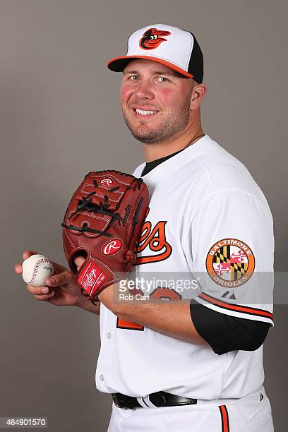 Pitcher Tommy Hunter of the Baltimore Orioles poses on photo day at Ed Smith Stadium on March 1 2015 in Sarasota Florida