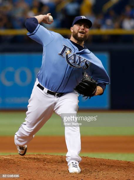 Pitcher Tommy Hunter of the Tampa Bay Rays pitches during the eighth inning of a game against the Cleveland Indians on August 13 2017 at Tropicana...