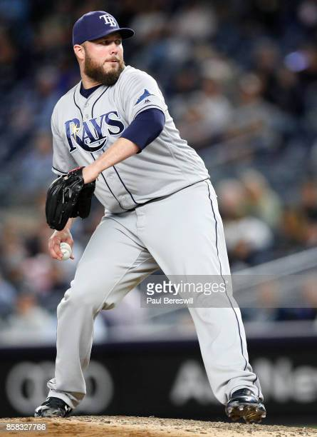 Pitcher Tommy Hunter of the Tampa Bay Rays pitches in an MLB baseball game against the New York Yankees on September 28 2017 at Yankee Stadium in the...