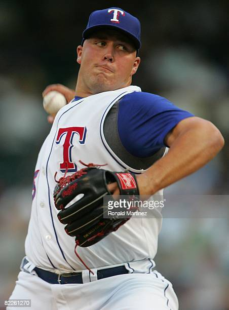 Pitcher Tommy Hunter of the Texas Rangers throws against the Texas Rangers on August 6 2008 at Rangers Ballpark in Arlington Texas