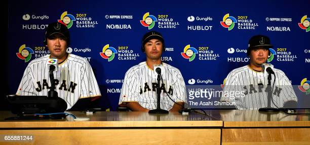 Pitcher Tomoyuki Sugano outfielder Norichika Aoki and outfielder Yoshitomo Tsutsugo of Japan attend a press conference ahead of the World Baseball...