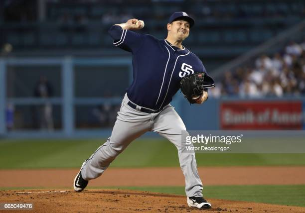 Pitcher Trevor Cahill of the San Diego Padres pitches in the first inning during the MLB game against the Los Angeles Dodgers at Dodger Stadium on...