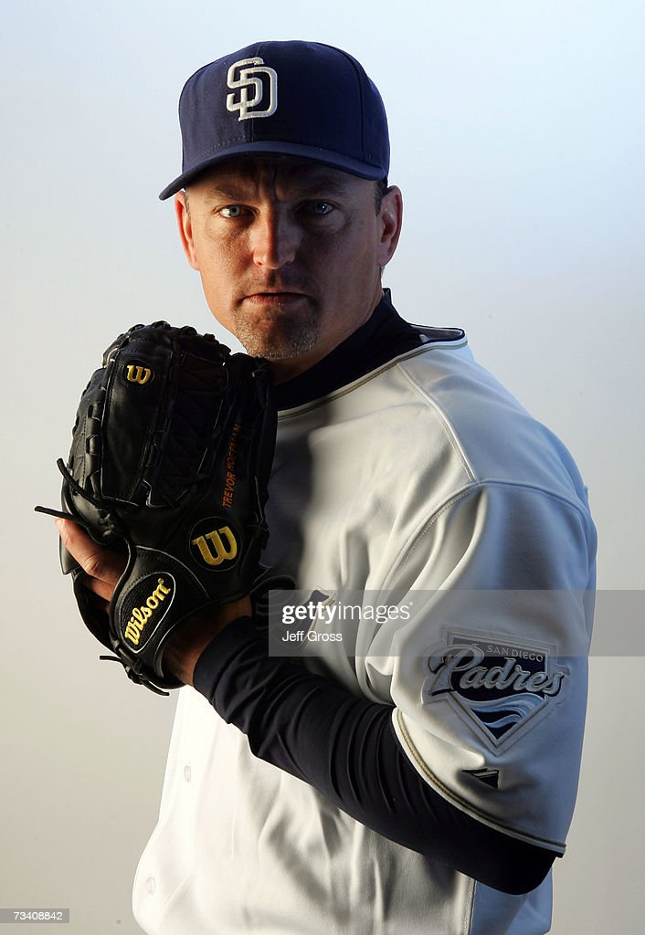 Pitcher Trevor Hoffman #51 of the San Diego Padres poses for a portrait during San Diego Padres Photo Day at the Peoria Sports Complex on February 23, 2007 in Peoria, Arizona.