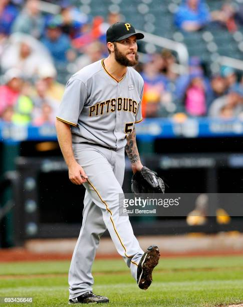 Pitcher Trevor Williams of the Pittsburgh Pirates reacts in an MLB baseball game against the New York Mets on June 4 2017 at CitiField in the Queens...