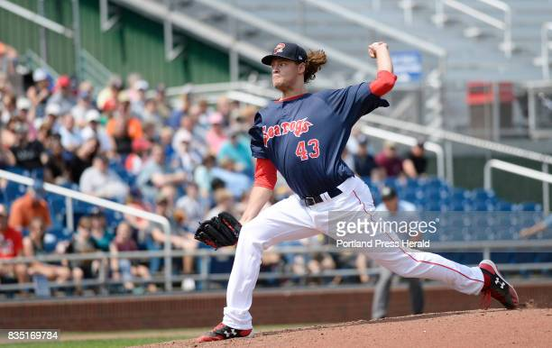 Pitcher Trey Ball pitches for the Portland Sea Dogs against the Altoona Curve Thursday August 17 2017