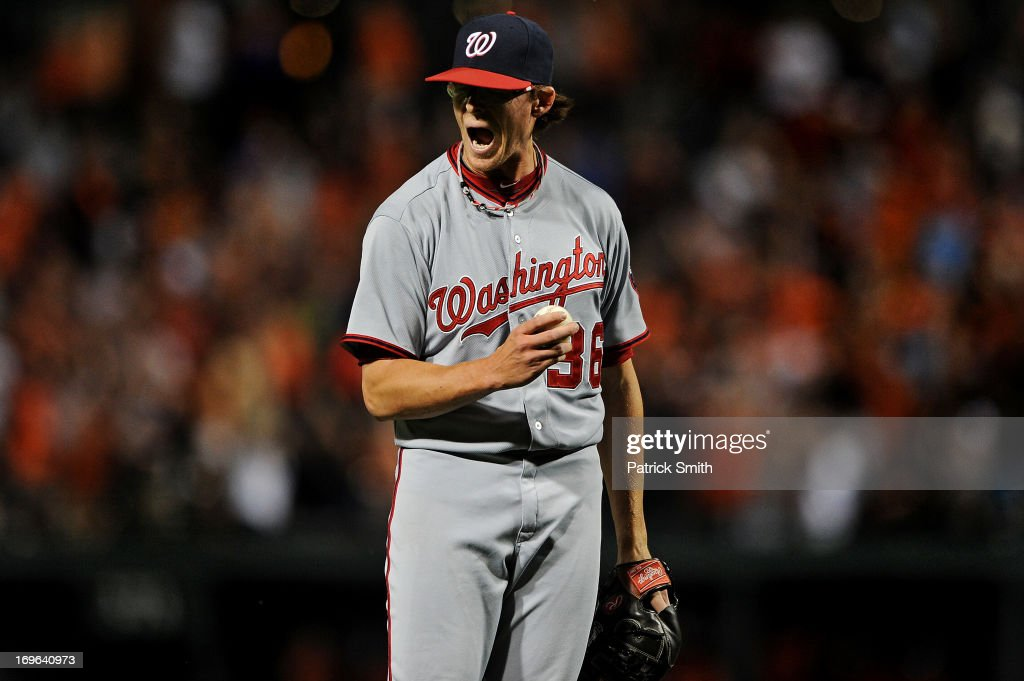 Pitcher <a gi-track='captionPersonalityLinkClicked' href=/galleries/search?phrase=Tyler+Clippard&family=editorial&specificpeople=4172556 ng-click='$event.stopPropagation()'>Tyler Clippard</a> #36 of the Washington Nationals reacts after giving up a two-run home run to Chris Davis #19 of the Baltimore Orioles (not pictured) in the seventh inning during an interleague game at Oriole Park at Camden Yards on May 29, 2013 in Baltimore, Maryland. The Baltimore Orioles won, 9-6.