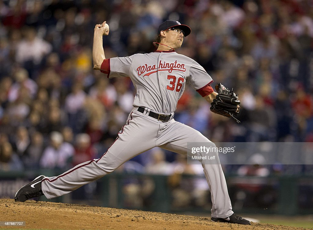 Pitcher <a gi-track='captionPersonalityLinkClicked' href=/galleries/search?phrase=Tyler+Clippard&family=editorial&specificpeople=4172556 ng-click='$event.stopPropagation()'>Tyler Clippard</a> #36 of the Washington Nationals throws a pitch in the eighth inning against the Philadelphia Phillies on May 2, 2014 at Citizens Bank Park in Philadelphia, Pennsylvania.