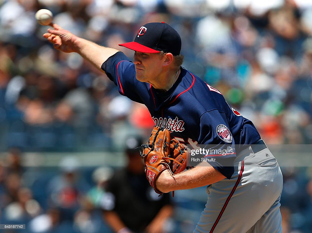 Pitcher Tyler Duffey #56 of the Minnesota Twins delivers a pitch against the New York Yankees in the second inning of a game at Yankee Stadium on June 26, 2016 in the Bronx borough of New York City.