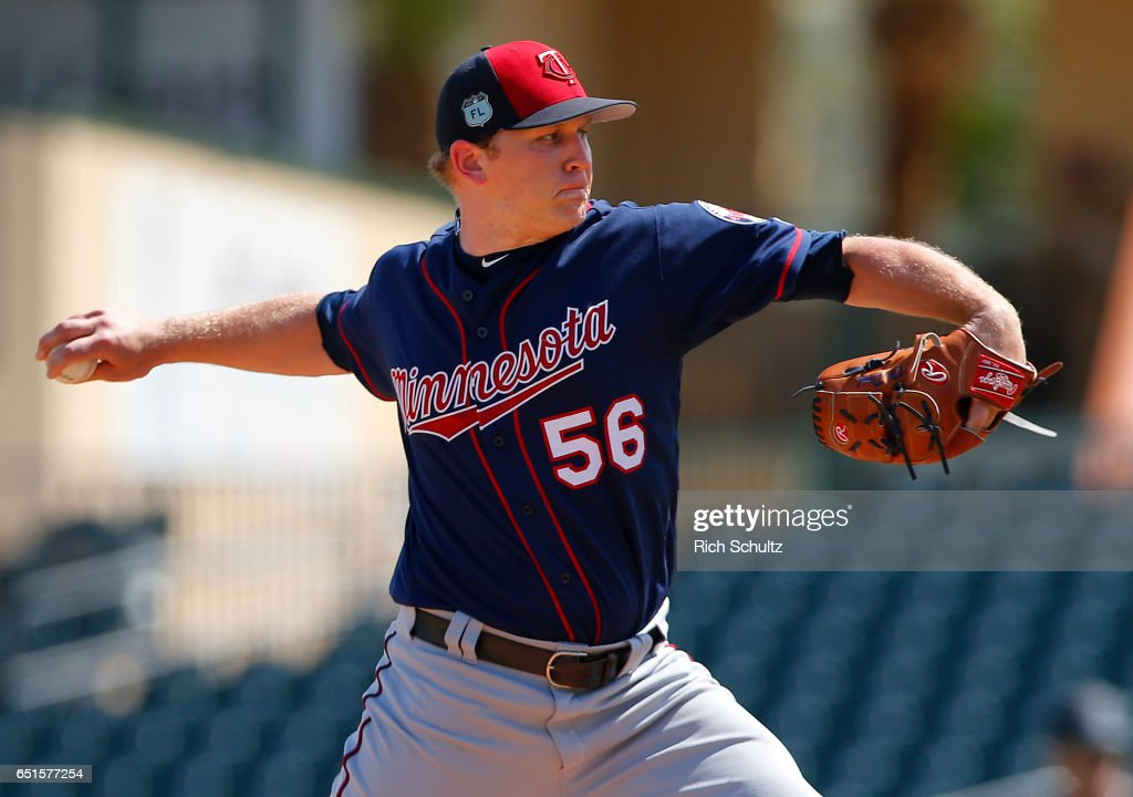 Pitcher Tyler Duffey #56 of the Minnesota Twins delivers a pitch against the Miami Marlins during a spring training baseball game at Roger Dean Stadium on March 10, 2017 in Jupiter, Florida.