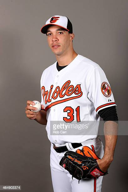 Pitcher Ubaldo Jimenez of the Baltimore Orioles poses on photo day at Ed Smith Stadium on March 1 2015 in Sarasota Florida