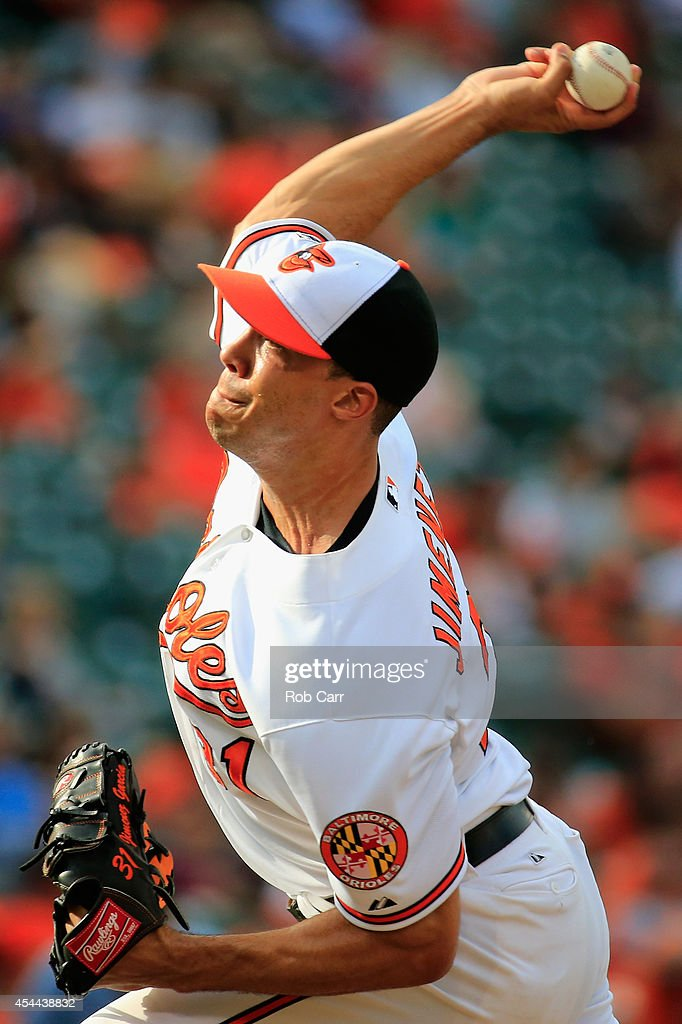 Pitcher <a gi-track='captionPersonalityLinkClicked' href=/galleries/search?phrase=Ubaldo+Jimenez&family=editorial&specificpeople=2539590 ng-click='$event.stopPropagation()'>Ubaldo Jimenez</a> #31 of the Baltimore Orioles throws to a Minnesota Twins batter during the ninth inning of the Orioles 12-8 win at Oriole Park at Camden Yards on August 31, 2014 in Baltimore, Maryland.