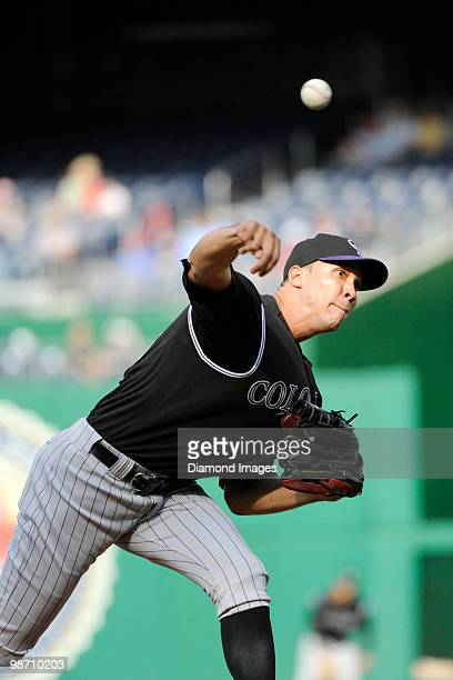 Pitcher Ubaldo Jimenez of the Colorado Rockies throws a pitch during the bottom of the second inning of a game on April 22 2010 against the...