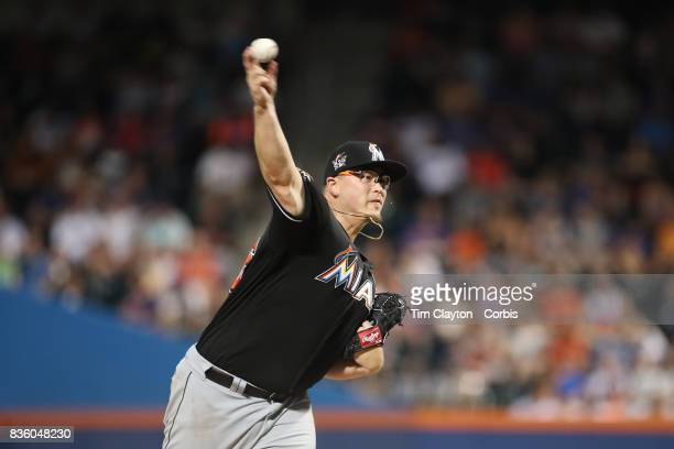 Pitcher Vance Worley of the Miami Marlins pitching during the Miami Marlins Vs New York Mets regular season MLB game at Citi Field on August 19 2017...