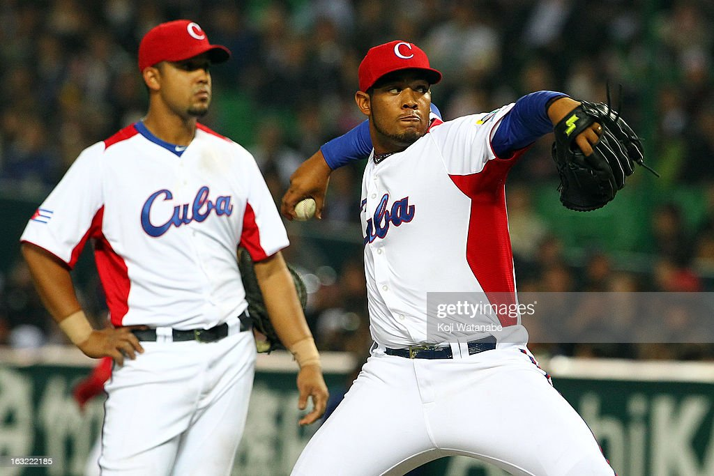 Pitcher Vladimir Garcia #34 of Cuba pitches during the World Baseball Classic First Round Group A game between Japan and Cuba at Fukuoka Yahoo! Japan Dome on March 6, 2013 in Fukuoka, Japan.
