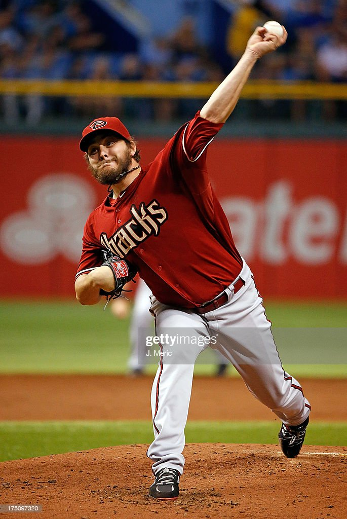 Pitcher Wade Miley #36 of the Arizona Diamondbacks pitches against the Tampa Bay Rays during the game at Tropicana Field on July 31, 2013 in St. Petersburg, Florida.