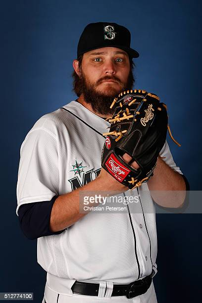 Pitcher Wade Miley of the Seattle Mariners poses for a portrait during spring training photo day at Peoria Stadium on February 27 2016 in Peoria...