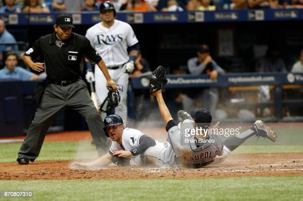 Pitcher Warwick Saupold of the Detroit Tigers gets the out at home plate on Brad Miller of the Tampa Bay Rays as Miller attempts to score off a wild...