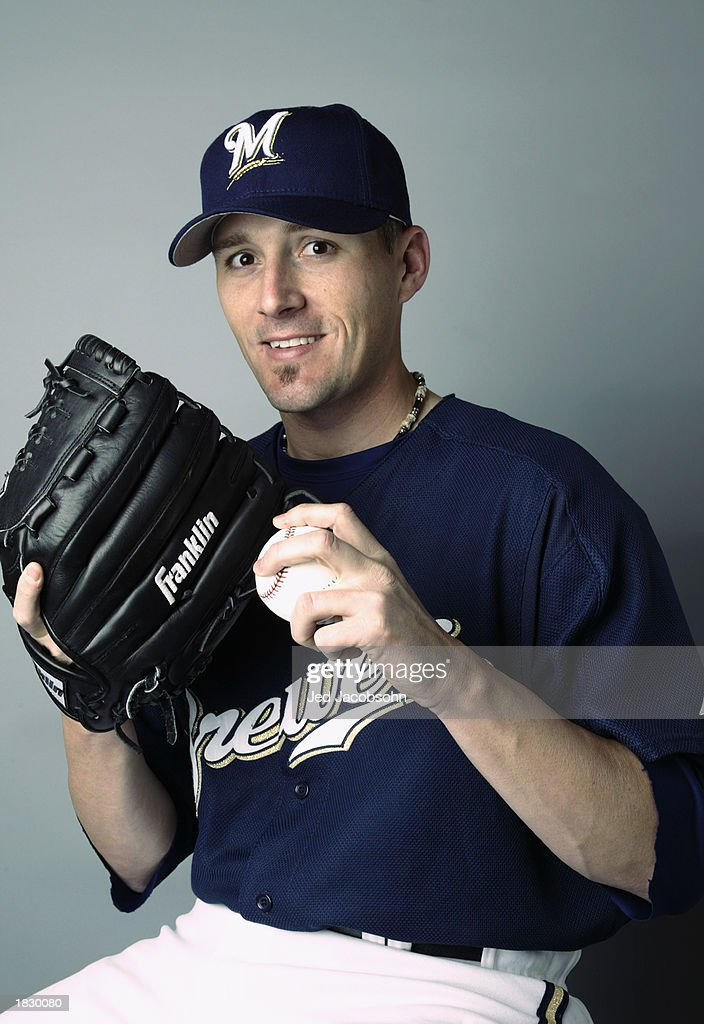 Pitcher Wayne Franklin of the Milwaukee Brewers poses for a portrait during the Brewers' spring training Media Day February 24 2003 in Marysville...